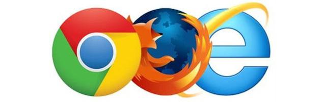 Chrome, Firefox and Internet Explorer Logos