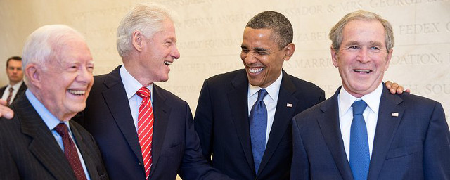 Presidents Carter, Clinton, Obama and George W. Bush (Pete Souza/The White House)