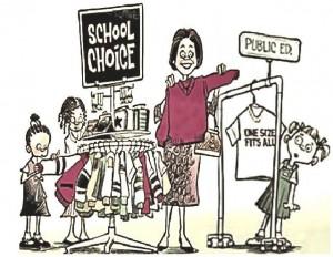 Political Comic - School Choice vs Public Education (One Size Fits All)